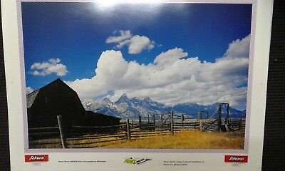 Grand Teton Mountains Ranch View Picture Poster 28 x 20 in