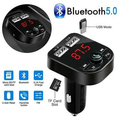 Bluetooth 5.0 Wireless FM Transmitter Car Audio MP3 Player Dual USB Charger Kit
