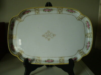 "Rectangular  Dish/ Tray Moriage Pink / Gold - Roses -Nippon-Japan-Green ""M"" Mark"