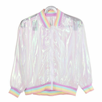 Harajuku Rainbow Iridescent Laser Hologram Jacket Sun-proof Tops Women Tops Coat