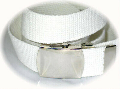 """Canvas WHITE Military WEB Style Belt Silver Metal Buckle 56"""" x 1 1/2"""" Army Navy"""