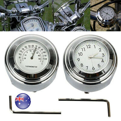 """AU 2 IN 1 Motorcycle 7/8"""" 1"""" Handlebar Dial Clock & Temperature Thermometer Set"""