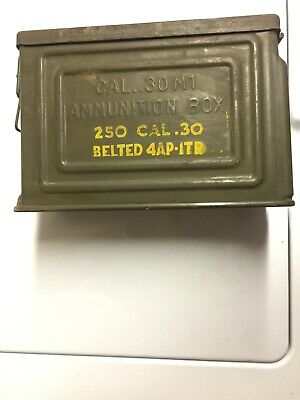Vintage WW2 Canco 30 Cal M1 Ammo Ammunition Box Can Flaming Bomb Belted