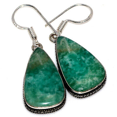 E37835 Amazonite 925 Sterling Silver Plated Earrings 1.8""