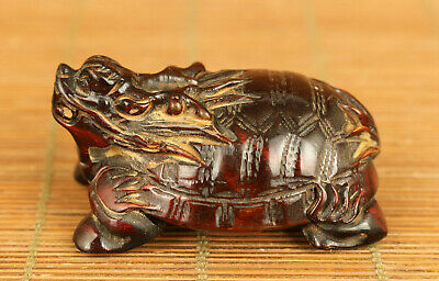 Rare chinese old yak horn hand carved tortoise dragon statue decoration gift