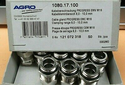 Cable Gland IP68 M16 + Nut 8mm -10mm Cable Entry EMC Nickel EEx ATEX 1080-17-100