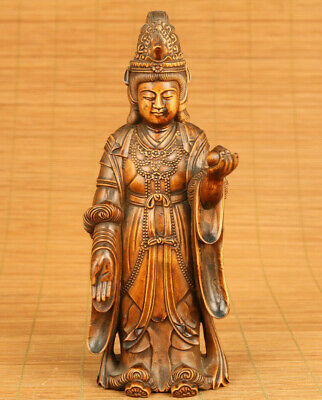 rare Chinese old boxwood hand carving Queen Mother of the West statue decoration