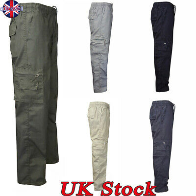 UK Mens Elasticated Cargo Combat Work Lightweight Chinos Trousers Pants Bottoms