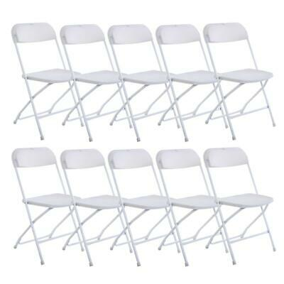 White Lot 10 Plastic Commercial Folding Chairs Stackable Wedding Party Chair NEW