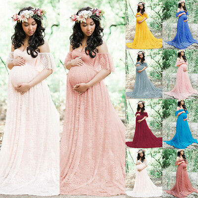 Maternity Women Lace Photography Long Pregnant Boho Maxi Gown Party Dress Props