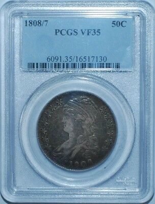 1808/7 PCGS VF35 Overdate Capped Bust Half Dollar