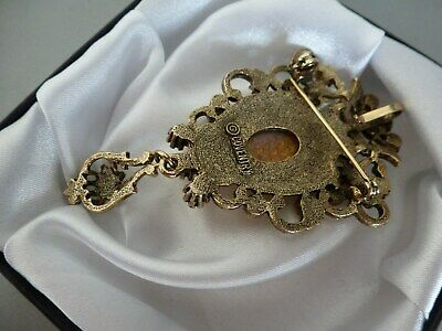 Vintage Superb Sara Coventry 'Fire Opal' Regal Style Sparkly Brooch Pin Clip