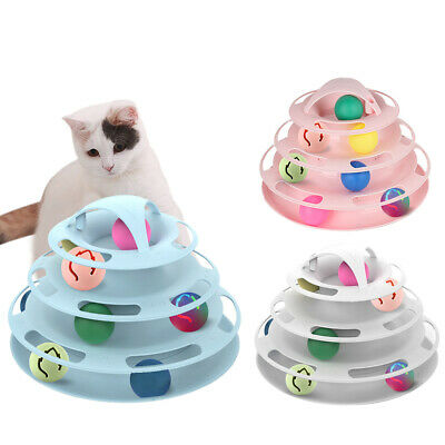 Cat Roller Toy 4 Layers Funny Play Flashing Ball Pet Interactive Track Toy LI