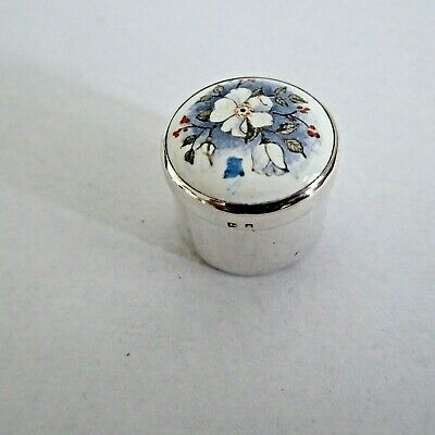 Vintage Solid Silver Pill Box Decorated Enamelled Painted Flowers  Hm 1995