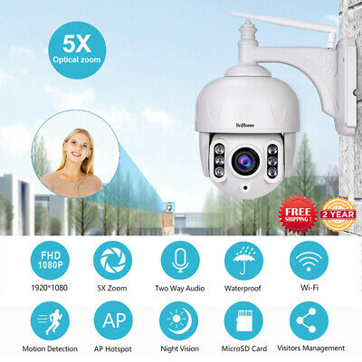 SriHome FHD 1080P 2MP WiFi PTZ Security IP Camera 5x Optical Zoom Night Vision
