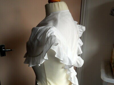 1840s early Victorian Over Bodice Topper Collar with pleats and frills.