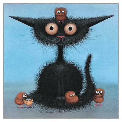 Birds Nest Hair Day Funny Black Cat Greeting Card Tamsin Lord Humorous Greetings