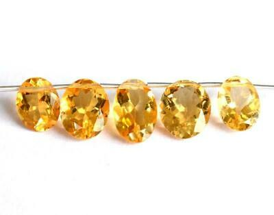 Natural Citrine Beads Faceted Pear Flawless 7.5X10 - 9X11 Mm Gemstone 5 Pcs#1344