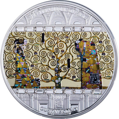 Cook Is. 2018 20$ Masterpieces Of Art TREE OF LIFE Gustav Klimt 3oz Silver Coin
