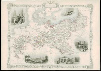 """1850 Illustrated Original Antique Map """"PRUSSIA"""" GERMANY BERLIN by TALLIS (171d)"""