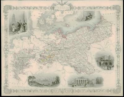 """1850 Illustrated Original Antique Map """"PRUSSIA"""" GERMANY BERLIN by TALLIS (170d)"""