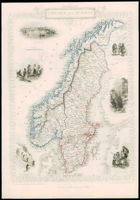 """1850 Illustrated Original Antique Map """"SWEDEN AND NORWAY"""" by TALLIS  (158d)"""
