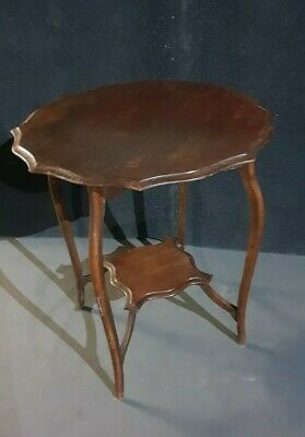 Antique Hall Table 2 Tier Bow Legged table plant stand