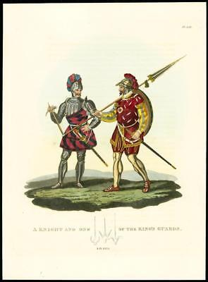 1824 Original Antique Print KNIGHT OF KING'S GUARDS Military Costume A.D.1525 (5