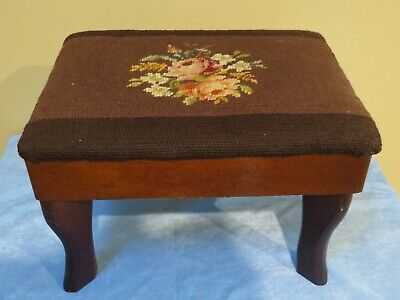 Antique Foot Stool with Brown Floral Needlepoint Top
