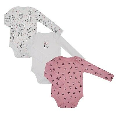 Baby Girls Bodysuits Vests 3 Pack Ex Store Long Sleeved 100% Cotton