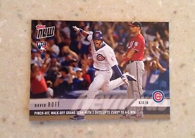 2018 Topps NOW # 591 David Bote Pinch-Hit, Walk-Off Grand Slam Chicago Cubs