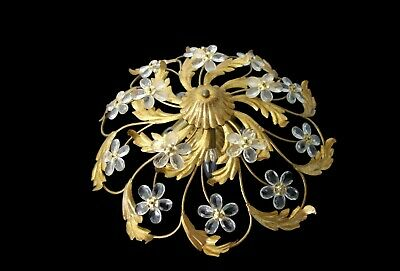 Mid Century Vintage Italian Flush Mount Ceiling Lamp With Crystal Flowers 1960s