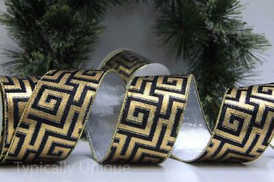 India Jane Ribbon 10 Yards Wire Edged Gold Greek Key Christmas Gift Wrapping
