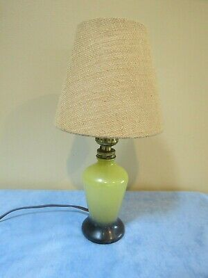 """Small Antique Yellow and Black Glass Lamp with Burlap Shade, 12"""" Tall"""