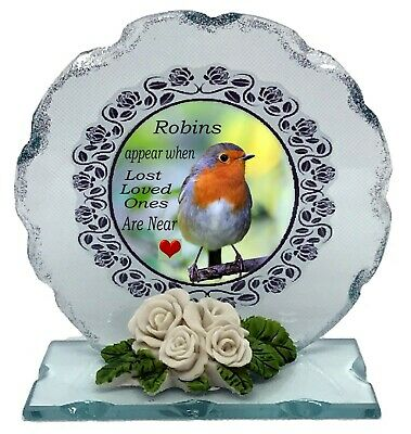 Robin Memorial Poem  Crystal Cut glass plaque keepsake  #8