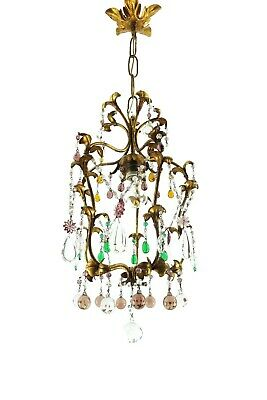 Gorgeous Antique 1920s Multi-Colour Murano Crystal Chandelier From Italy