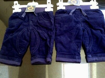Baby Navy Blue Two Pairs Cord Trousers. Age 0- 3 Months. Bnwt. John Lewis