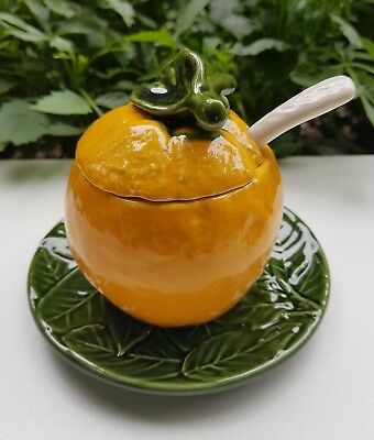 Magnifique Pot a confiture,confiturier forme orange en barbotine complet