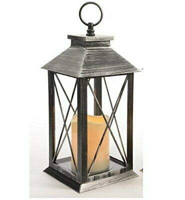 New Lumineo Battery Operated LED Lantern With Timer Rustic Black Silver 482388