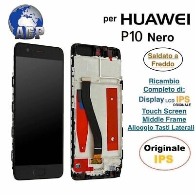 Display LCD Touch Screen Middle Frame HUAWEI P10 VTR-L09 L29 AL00 Nero Originale