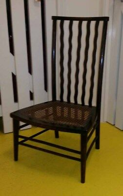 Antique art deco mahogany spindle back bedroom nursing chair with cane seat