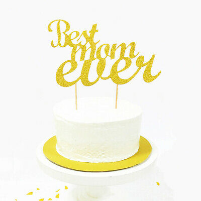 Best Mom Ever Cake Topper Cupcakes flag Mom's Birthday wedding party decor~GN