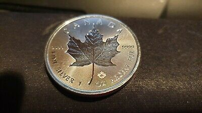 2018 Canadian $ 5 Dollars Incuse Maple Leaf 1 oz .9999 Silver Coin