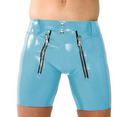 Latex Rubber Sexy Pants fashion Underwear Boxer Shorts Light Blue Size XXS-XXL