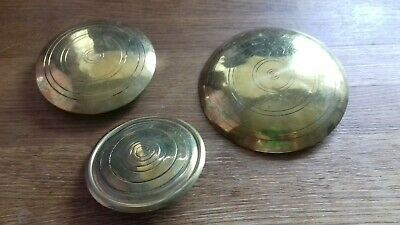 3 vintage brass pendulum fobs for old clocks