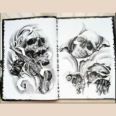 76 Pages Selected Skull Design Sketch Flash Book Tattoo Art Suppl~GN