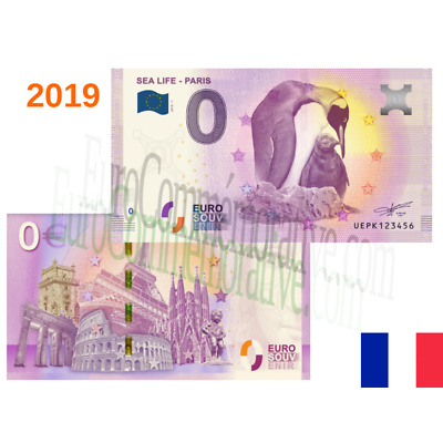 75 - Billet Touristique Euro Souvenir '' Sealife Paris I '' 2019