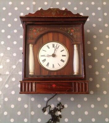 Antique Cuckoo Style Weight Chiming Wall Clock Hand painted With Column Detail