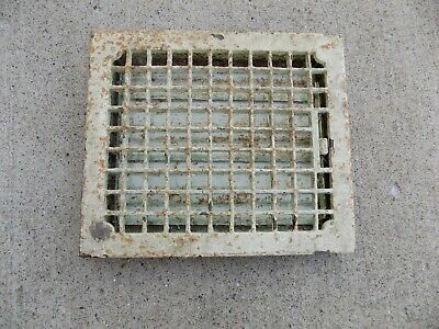 "Antique Vintage Cast Iron Heating Floor Grate Louver Register Vent 12""x 14"""