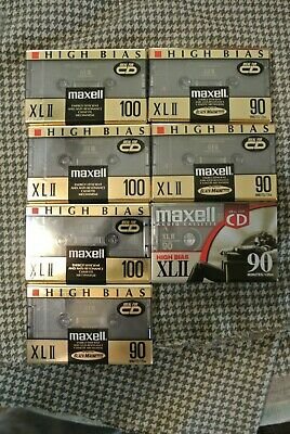 7 Maxell XLII 90 & 100 Minute Blank Audio Cassette Tape High Bias New Sealed